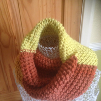 Handknitted scarf, cowl in acrylic  variegated yarn, in bold colours