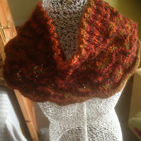 Hand knitted neck cowl in autumn colours