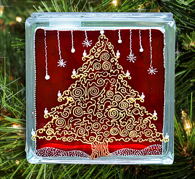 Christmas Tree Mantle Ornament or Table Decoration - Red Gold Silver Glass Block