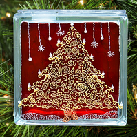 Christmas Tree Mantel Ornament or Table Decoration - Red Gold Silver Glass Block