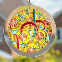 Sunshine Abstract Window Suncatcher - Garden Glass Art Roundel - Candy Colours