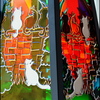 Sunset Cat Garden Candle Lantern - Window Art Sun Catcher - Hand Painted Glass
