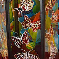 Butterfly Moroccan Candle Lantern - Hand Painted Glass Butterflies Suncatcher