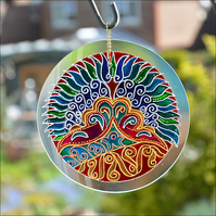 Hanging Window Roundel - Hand Painted Glass Garden Suncatcher - Peacock Tail