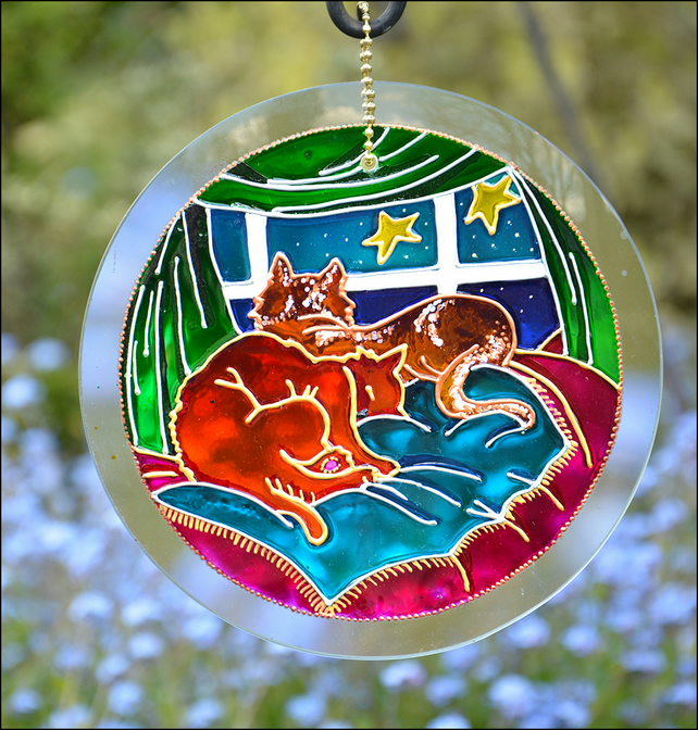 Cute Cat Roundel - Hand Painted Glass Garden Suncatcher - Hanging Window Art
