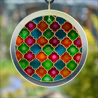 Hand Painted Glass Abstract Roundel - Moroccan Tiles Suncatcher Window & Garden