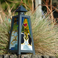 Romantic Anniversary Tealight Lantern - Cute Penguin Couple Wedding Ornament
