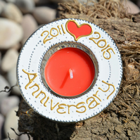 Personalised Anniversary Gift - Special Day Tealight Holder - Hand Painted Glass