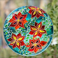 Hanging Floral Roundel - Hand Painted Glass Garden Suncatcher - Clematis Flowers