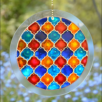 Moroccan Tiles Abstract Roundel - Hanging Glass Suncatcher for Window & Garden