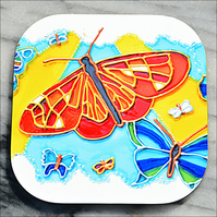 Butterfly Drinks Coaster - Hard-wearing Mug Mat - Rainbow Butterflies - Mum Gift