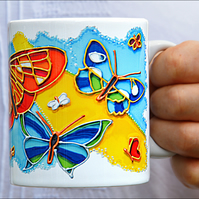 Butterfly Ceramic Coffee Mug - Colour Lover Kitchen Tableware - Mothers Day Gift
