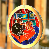 Sleepy Cat Roundel - Hand Painted Glass Garden Suncatcher - Hanging Window Art