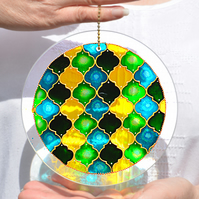 Leaf Green & Sunshine Yellow Hanging Suncatcher - Moroccan Tiles Garden Roundel