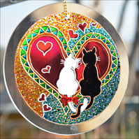 Cat in Love Hanging Roundel - Hand Painted Glass Garden Suncatcher - Anniversary