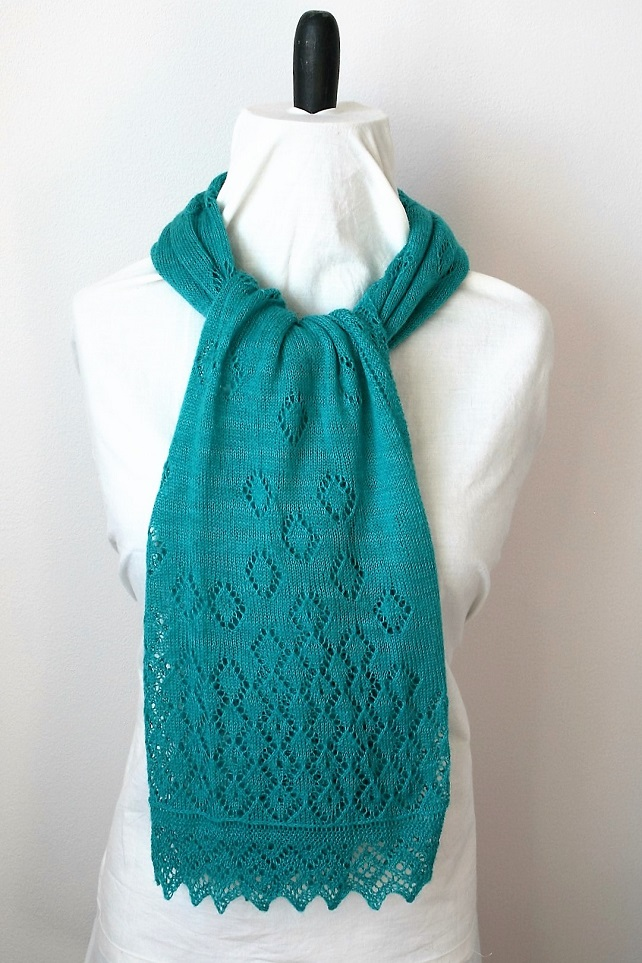 Hand Knitted Turquoise Merino Wool Lace Scarf