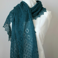 Hand Knitted Teal Merino Wool Lace Scarf