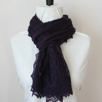 Purple Merino Wool Scarf