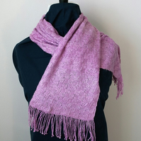 Hand Knitted Lilac Silk Scarf