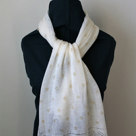 White Merino Wool Scarf with Gold Beaded detail