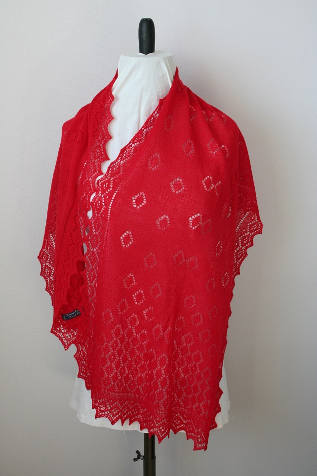 Hand Knitted Red Merino Wool Scarf