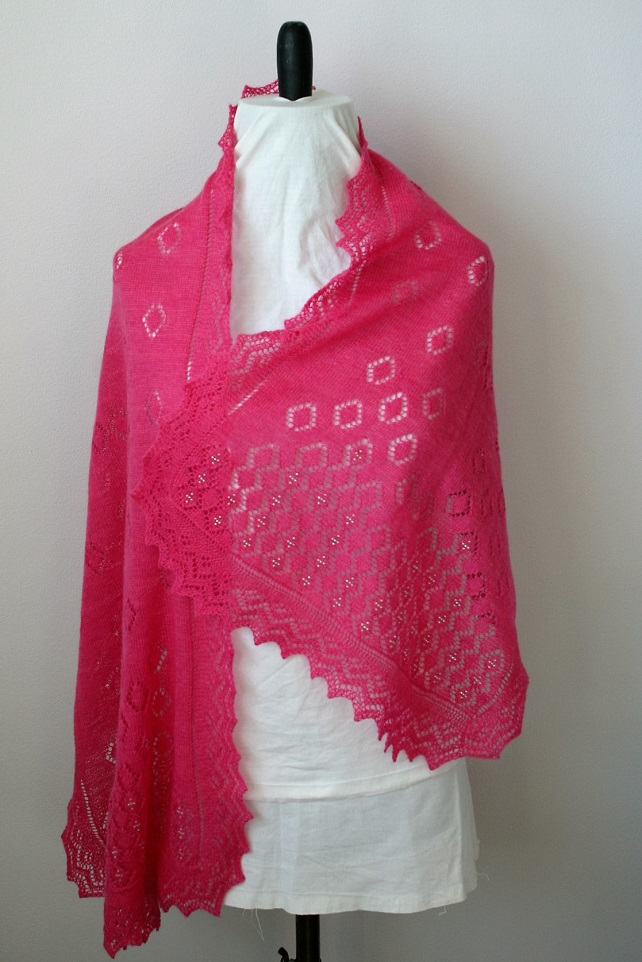 Hand knitted Rose-Pink Merino Wool Scarf