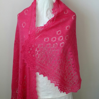 Rose-Pink Merino Wool Scarf with Bead Highlights