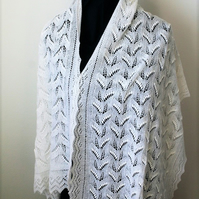 Hand Knitted White Merino Shawl