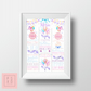 Beautiful Watercolour Balloon Themed First Birthday Chalkboard Poster