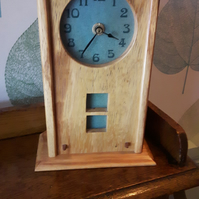 Arts and Crafts Inspired White Walnut Mantle Clock with Sage Green Tile Face
