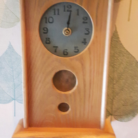 Arts and Crafts Inspired Oak Clock with Sage Green Tile Face and Brass Detail