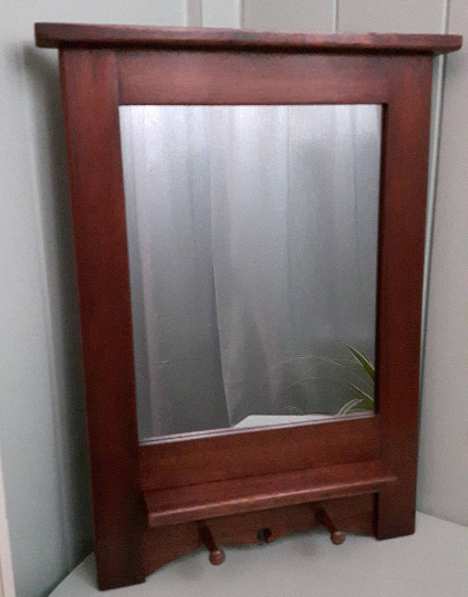 Reclaimed Mahogany Mirror with Shelf and Handy Shaker Pegs