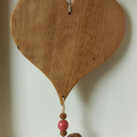 Reclaimed Wooden Hanging Heart With Beads And Small Heart Decoration