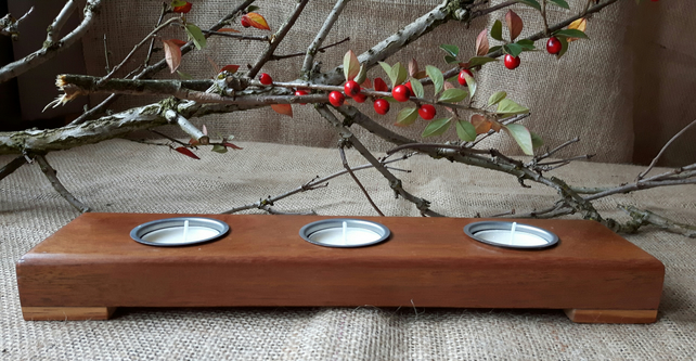 Reclaimed Teak and Walnut Multi T Light Holder with Silver Candle cups