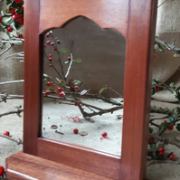 Reclaimed Mahogany Gothic Medieval Shelved Mirror (Small)