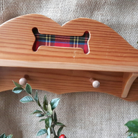 Reclaimed Pitch Pine Dog Lead Hanger with Red Tartan Bone Detail