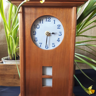 Arts and Crafts Inspired Mahogany Mantle Clock with Light Blue Ceramic Tile Face
