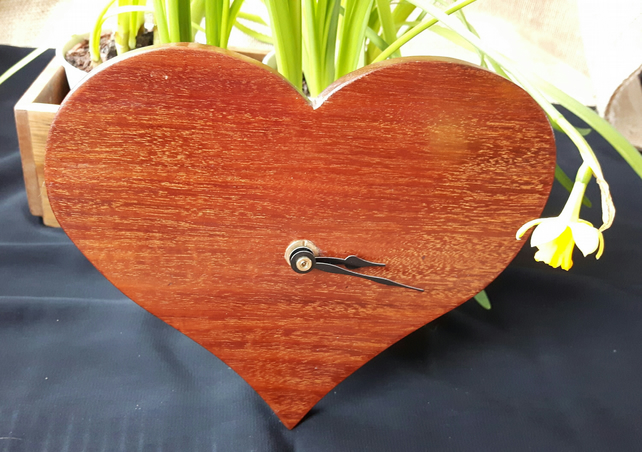 Reclaimed Mahogany Heart Shaped Clock With Quartz Movement