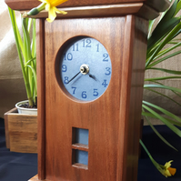 Arts and Crafts Inspired Reclaimed Mahogany Mantle Clock with Blue Tile Face