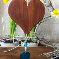 Reclaimed Wooden Hanging Heart With Recycled Decorative Beads