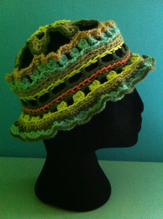 Unique Handmade Crochet Hat - blues & greens