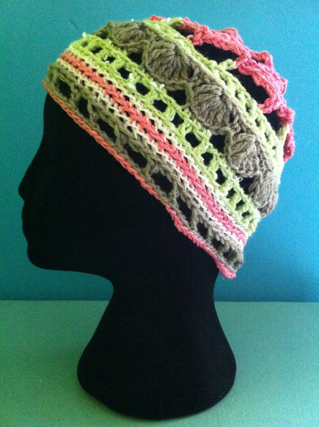 Unique Handmade Crochet Hat - Pinks, greens & greys