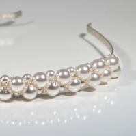 SALE! White Pearl bridal alice band, Swarovski® head piece, Wedding hairband