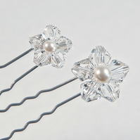 5 bridal hair pins, Swarovski® hair pins, Crystal bridal hair pins, Prom hair