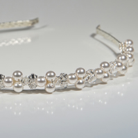 SALE! Swarovski® Crystal & pearl alice band, wedding head piece