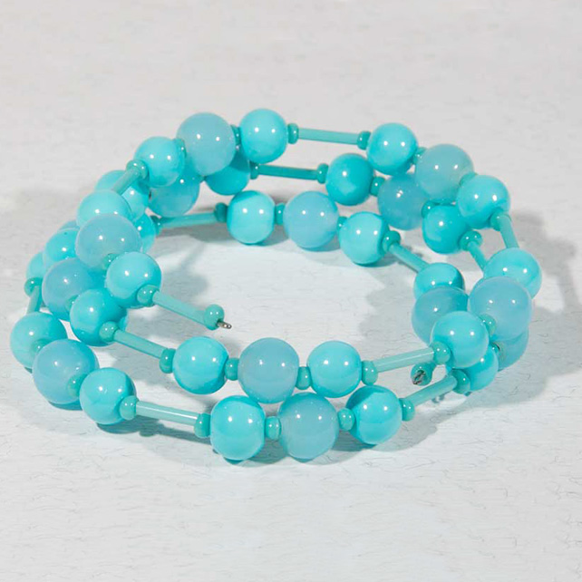 SALE! Turquoise glass bracelet, Expandable bracelet, Wrap around, Memory wire