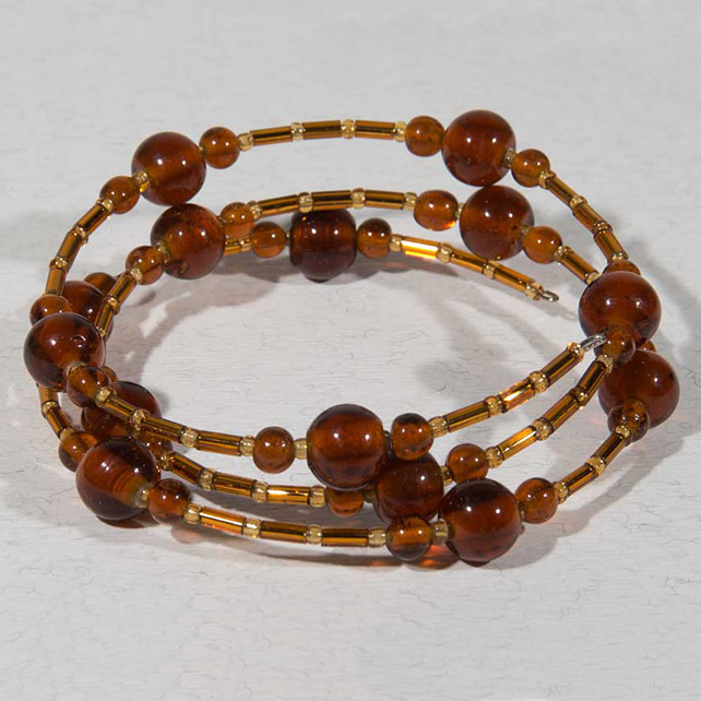 SALE! Amber glass bracelet, Expandable bracelet, Stacking bangle, Memory wire