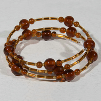 Amber glass bracelet, Expandable bracelet, Stacking bangle, Memory wire
