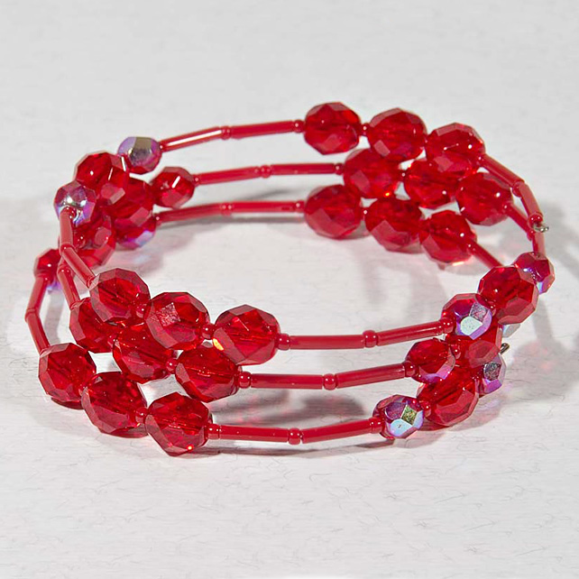 SALE! Red bracelet, Expandable bracelet, Ruby stacking bracelet, Memory wire