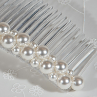 White pearl bridal hair comb, Swarovski wedding comb, Veil comb, Prom jewellery